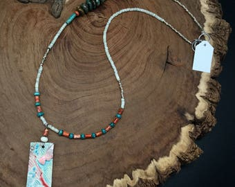 Assymetrical turquoise and coral necklace with handmade raku pendant