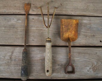 Vintage Lot of 3 Rusty Garden Tools - Beach Shovel