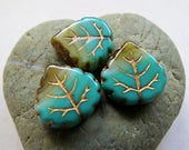 NEW BRONZED Swirled TURQUOISE Leaves . Czech Pressed Glass Leaves (4 beads) 16 by 15 mm