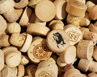 Group of 60 Used Mix Sized Lot of Cork and Wood Bottle Stoppers - Recycle - Repurpose - Reuse - FREE SHIPPING