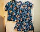 Vintage Hawaiian Matching Aloha Shirt & Dress Hawaiiana Brand Blue Black Hibiscus
