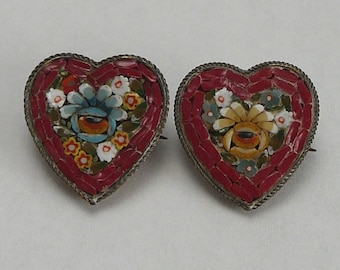 Victorian Mosaic Brooch Pair Red Hearts Italy Grand Tour Vintage Pins C Catch Long Pin