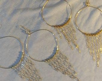 Beaded fringe hoops