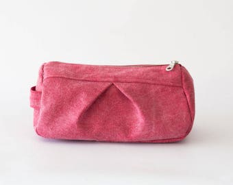 Makeup bag in red stonewashed denim, toiletry case cosmetic storage case accessory bag in cotton canvas - Estia Bag