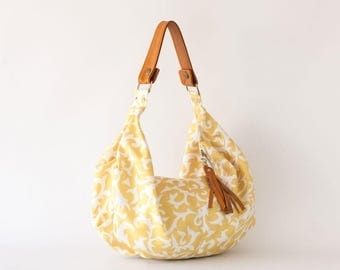 Yello Floral bag, cotton purse flower bag slouchy bag handbag canvas purse everyday bag - Mini Kallia bag