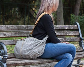 Wool beige cross body bag with light brown leather, crossover bag slouchy messenger purse everyday- Crossbody Kallia bag