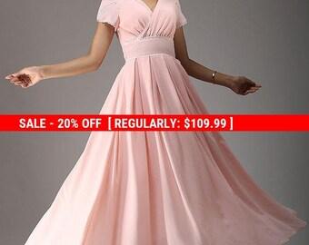 Pink dress, maxi dress, bridesmaid dress, chiffon dress with petal sleeve, empire waist dress, evening dress, handmade dressa  (638)