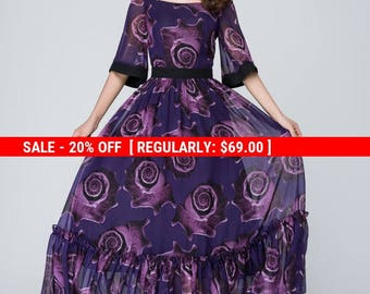 Purple dress, floral dress,  print dress, chiffon dress,prom dress,bridesmaid dress,party dress, long bridesmaid dress, Custom dress,  1546
