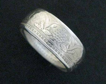 Hand Forged Double Sided Silver (91.7%) Coin Ring - George V Indian Rupee