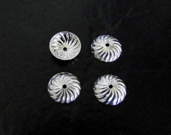 Four - Sterling Silver Swirl Bead Cap 8mm