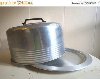 On SALE Vintage Retro 1950s Aluminum Cake Saver with Locking Lid by REGAL