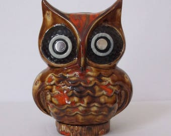 Vintage Ceramic Owl Bank..Big Eyed Owl Bank.Handmade 1970s Owl Bank