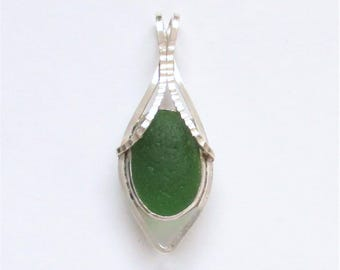 Sea Glass Jewelry - Sterling Green Sea Glass Pendant