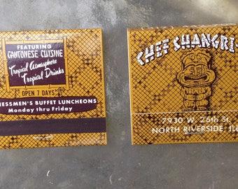 Vintage unused deadstock matchbook tiki chef shangri la