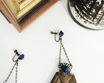 copper & blue lapis screwback earrings