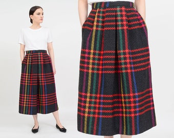 Vintage 80s Dark Gray Checkered Skirt | Colorful Plaid Skirt | Pleated Wool Skirt | High Waist Midi Skirt | Rainbow Skirt | Medium M