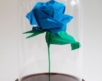 Eternal rose origami blue rose in large decorative globe