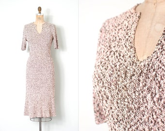 vintage 1950s dress |  50s knit dress |  pink and brown (small medium s m)