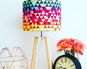 Geometric Rainbow Lampshade on Wooden Lamp Base - Desk Light - Contemporary Lamp - Accent Light - Free Shipping