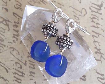 Blue Sea Glass and Bali Silver Earrings