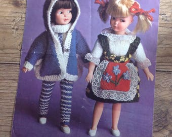 Vintage Dolls Clothes Knitting Pattern, Vintage Dolls Clothes for a 9 inch doll , 3 and 4 ply wool