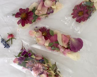 Dry Flowers, Wedding Confetti, Flower Girl, Craft Supply, Dry Petals,  Biodegradable, Decor, Aisle Decorations, 4 Bags or Boxes of Confetti