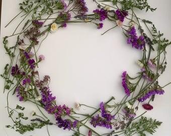 Floral Crown Kit, Dried Flowers, Hair Wreath Kit, Bridal Hair Accessories,Floral Wreath, Decoration, Biodegradable, Wildflower Headband