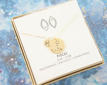 zodiac Pisces necklace, birthday gift, custom personalized, gift for women girl, minimalist, simple necklace, layered