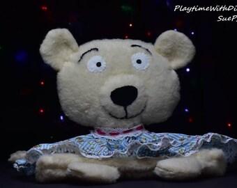 Patsy the Polar Bear, Teddy Bear, Pyjama Bag, Keepsake for Babies, White brushed felt, blue and white striped dress, stuffed animals