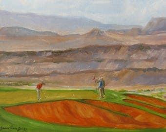 Original golf oil painting, sports art, golf painting, southwest golf art, western sports oil painting, wall decor,home decor