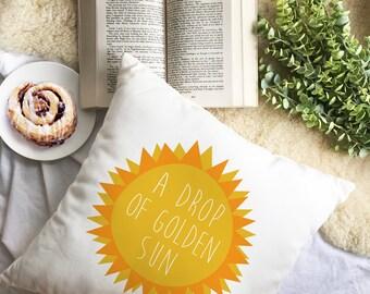 Sound of music pillow - golden sun pillow - Decorative THROW PILLOW, CUSHION cover, pillow, gift, musical