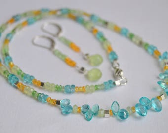 Beaded Apatite, Prehnite, Mandarin and Mint Garnet Necklace, Beaded Necklace, Silver Necklace, Beaded Necklace Set