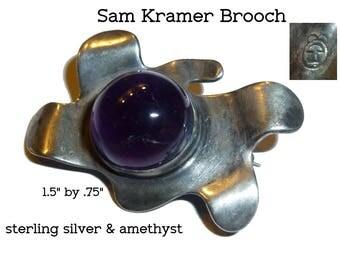 Sam Kramer Signed Modernist Brooch. Vintage Greenwich Village Artist circa 1950s. Sterling Silver and Amethyst Pin.