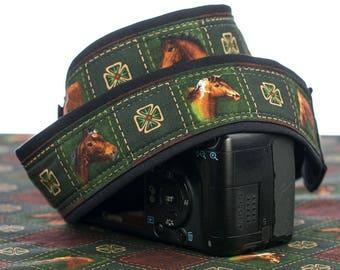 Horses Camera Strap, dSLR, SLR, Mirrorless, Camera Neck Strap, Nikon or Canon Strap, Green, Quick Release, Mens camera strap, 222 w