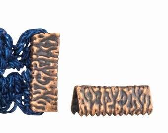 16pcs. 16mm or 5/8 inch Antique Copper No Loop Ribbon Clamp End Crimps - Artisan Series