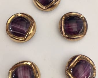 5 Vintage German Glass Buttons - Gold Metallic on Purple and White Glass