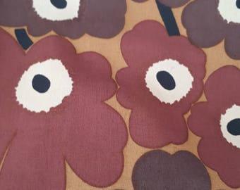 SUPER SUMMER Marimekko vintage mini UNIKKO  Poppy fabric cotton brown Maija Isola