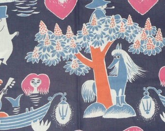 Magic Moomin fabric dark blue background Tove Jansson 100 years cotton