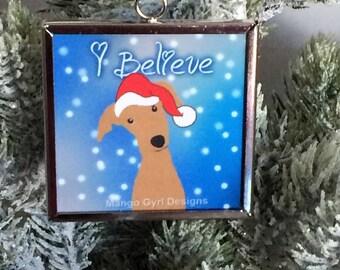 Greyhound I Believe Ornament, Greyhound Christmas Ornament, Greyhound Christmas, Greyhound gifts, I believe ornament, Greyhound gift,
