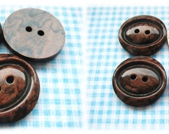 Brown Mottled 1960's Buttons