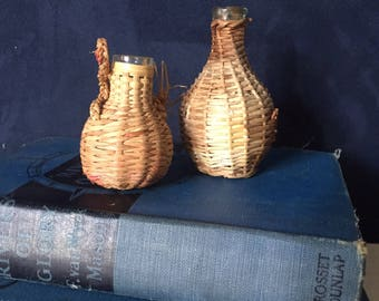 Mini wicker wrapped wine liquor bottles french