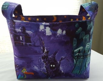 Halloween Fabric Organizer Basket Storage Bin Container - Scary Night Purple