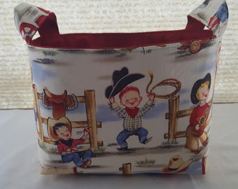 Fabric Organizer Container Storage basket  Cow Boys Ready to Ship