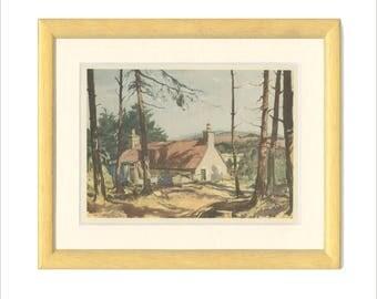 Scotland: Speyside Croft, Vintage Print 139, 1952, Macpherson, Britain World War 2, WW2, Wartime Art, War Artist