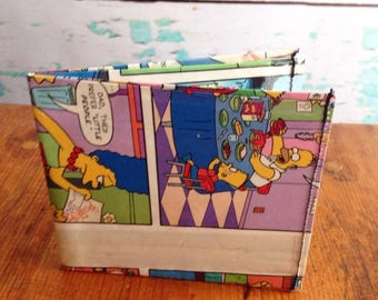 SALE The Simpsons Homer Marge Bart Lisa Maggie comic book vinyl wallet. Matt Groening. Handmade from comic books.