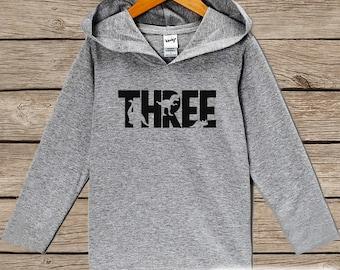 Boys Birthday Shirt - Three Dinosaur Birthday Shirt - Third Birthday Hoodie - Three Dino Birthday Pullover - 3rd Birthday Dinosaur Shirt