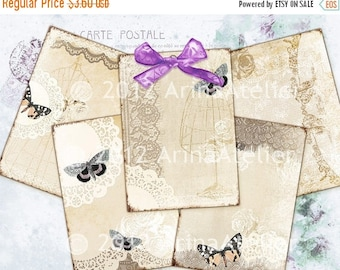 SALE 30% OFF - Vintage Lace & Butterflies -Romantic ATC Cards - Shabby Chic Backgrounds - Digital Tags - Download Collage Sheet