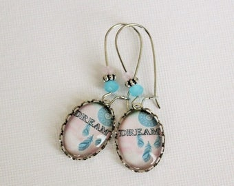VACATION SALE- Boho Dreamcatcher Earrings. Pale pink and blue.