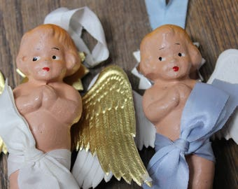 2 Angles Christmas Ornaments Composition Frozen Charlotte Kewpie Doll Type Decoration  VINTAGE by Plantdreaming