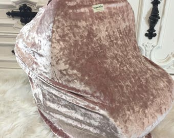 Blush crushed velvet Car seat cover Nursing cover Shopping cart cover 3 in 1
